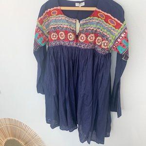 Bohemian Woven Embroidered Navy Blue Boho Tunic S